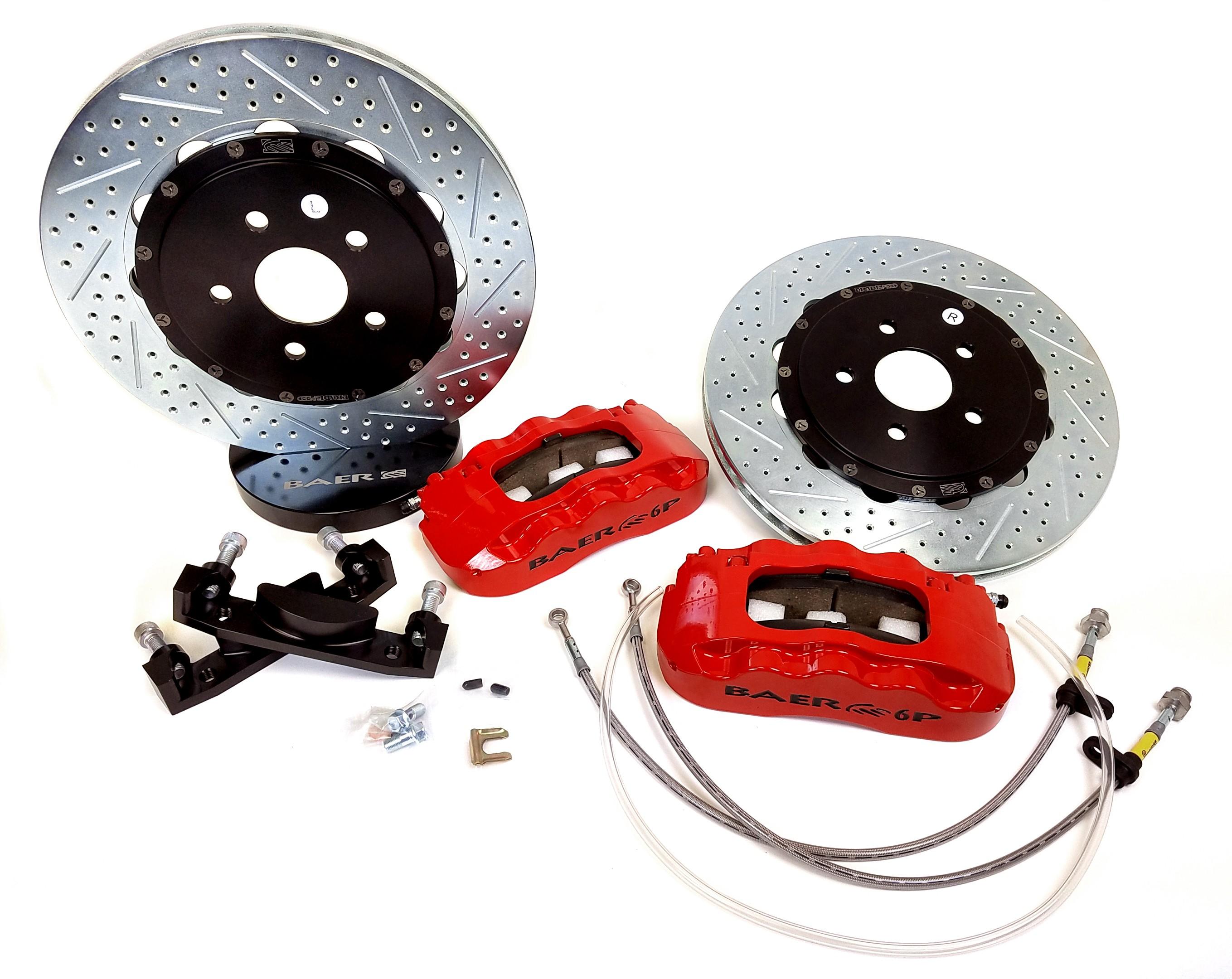 14 Rear Pro+ w//Park Brake Silver 65-70 Chevy Full Size Car 1 Pack BAER BRAKES 4302422S-BKCZ Brake System